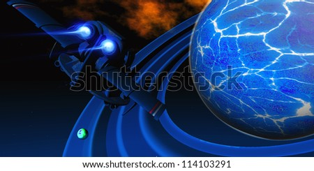 Ice Planet - A spacecraft flies near an ice planet and its rings near a deep space nebula cloud. - stock photo
