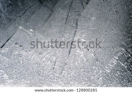 Ice - plate of real ice as texture, background and decoration - stock photo