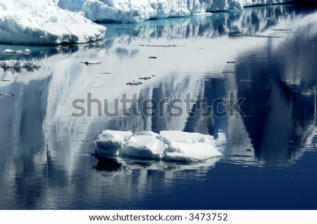 Ice reflections - stock photo