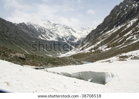 ice river and snow Kashmir, Himalaya India - stock photo