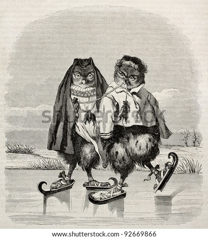 Ice skaters owls fanciful old illustration. After old Dutch print, published on Magasin Pittoresque, Paris, 1845 - stock photo