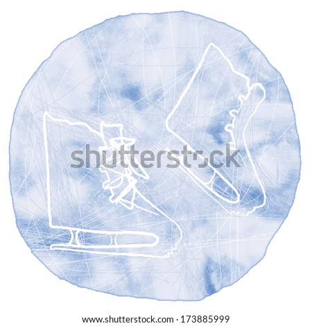 Ice skates in circle hand drawn watercolor illustration