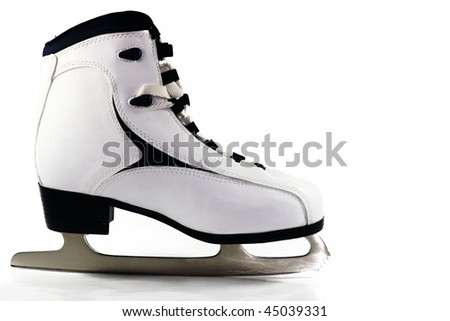 Ice skates on white background - stock photo
