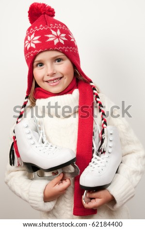 Ice skating girl - stock photo