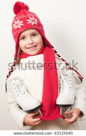 Ice skating girl - stock photo