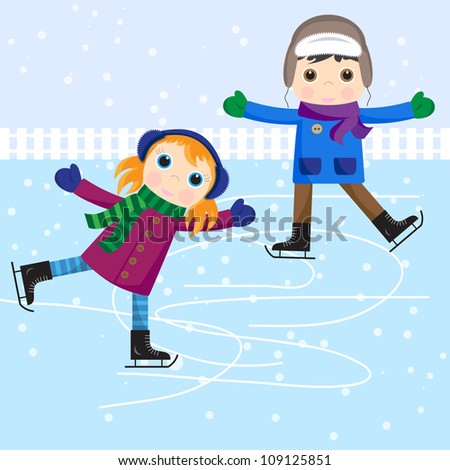 Ice skating little girl and boy.  Raster version - stock photo