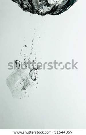 ice splashing underwater
