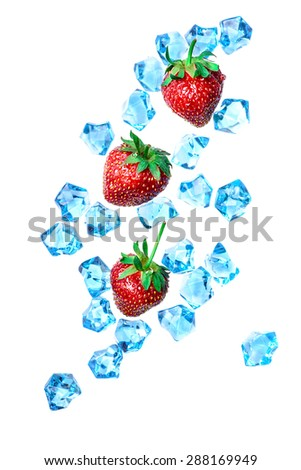Ice strawberries on white background - stock photo