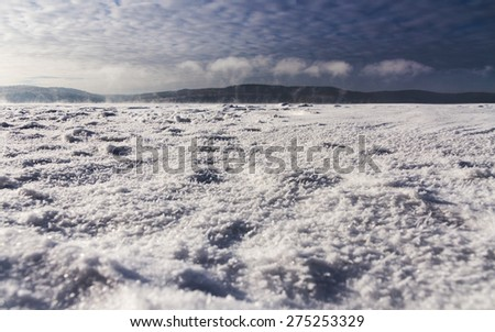 Ice structure at Angara river - stock photo