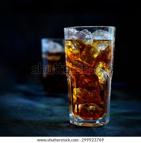 ice tea in a glass with ice on a wooden background