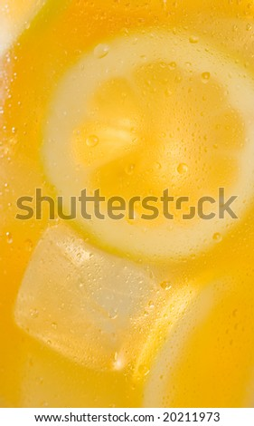 Ice tea lemonade background - stock photo
