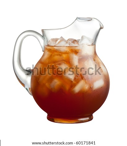Ice Tea Pitcher isolated on a white background - stock photo