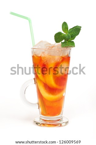 Ice tea white isolated. Glass ice tea with ice cubes and mint. - stock photo
