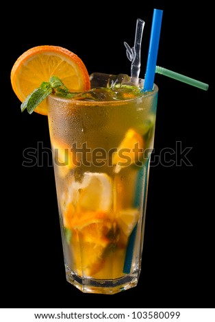 ice tea with citrus and grenadine on black