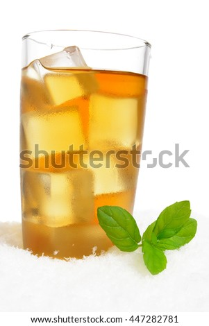 Ice tea with ice cubes,mint on ice on white background
