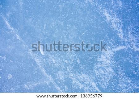 ice texture on outdoor rink - stock photo