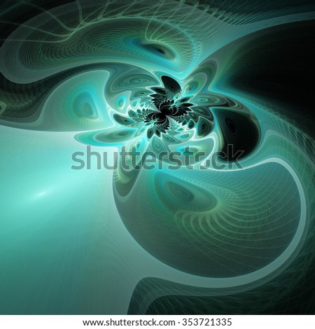 Ice tunnel. Abstract fantasy waves on black background. Computer-generated fractal in green, grey and turquoise colors. - stock photo