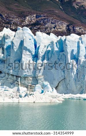 Ice wall at the Perito Moreno Glacier, Patagonia, Argentina - stock photo