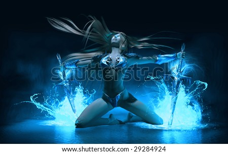 ice warrior melts ice with swords and magic - stock photo