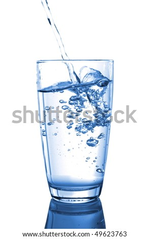 ice water pouring in transparent glass or cup