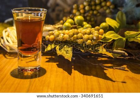 Ice Wine Slushy in a Shot Glass - stock photo