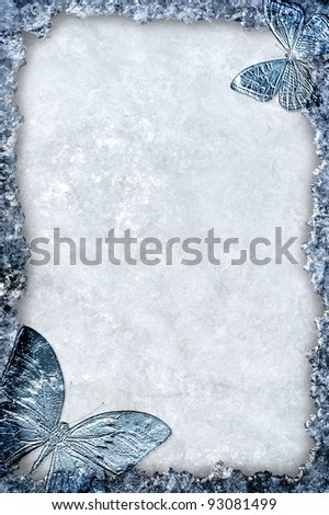 Ice winter theme background frame with blue border and butterflies - stock photo