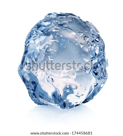 Ice with drops isolated on a white background
