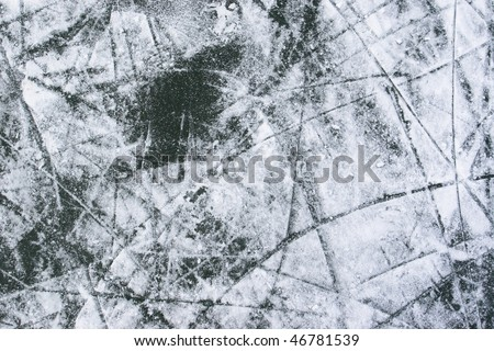 Ice with snow, and lots of cracks, hockey background. - stock photo