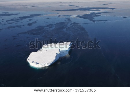 Iceberg aerial view - stock photo