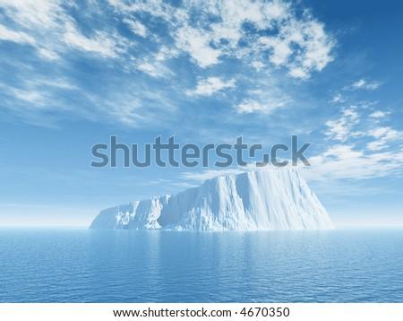 Iceberg against blue cloudy sky - 3d illustration - stock photo