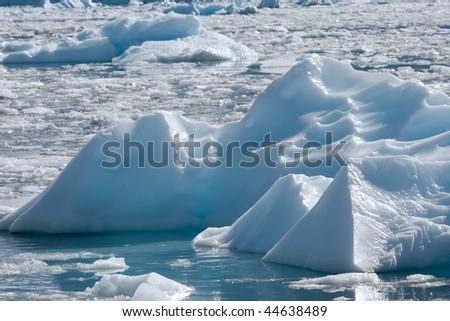iceberg drifting in an iceberg field - stock photo