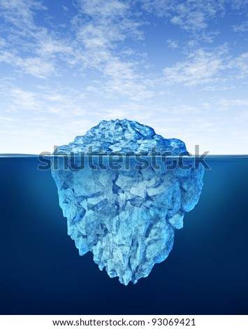 Iceberg floating in cold arctic ocean water as a small part of the frozen ice mountain above sea and a much larger piece of the freezing snow below as a financial risk as more than meets the eye. - stock photo