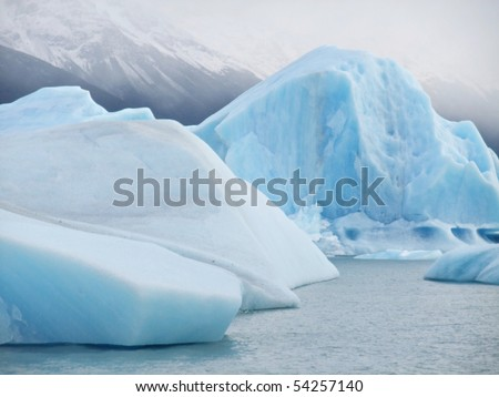 Iceberg floating in the mist - Perito Moreno Glacier El Calafate Argentina - stock photo