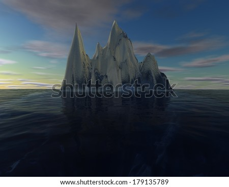 iceberg illustration, subconscious mind, intuition concept - stock photo