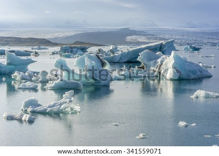 Iceberg in Jokulsarlon glacier lake in Iceland. The icebergs originated from the Vatnajokull float. This location was used for various action movies.