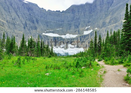 Iceberg Lake glacier in Glacier National Park in summer