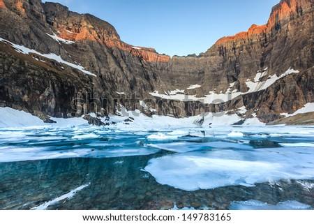Iceberg Lake, Glacier National Park, MT - stock photo