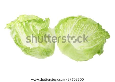Iceberg Lettuce on White Background - stock photo