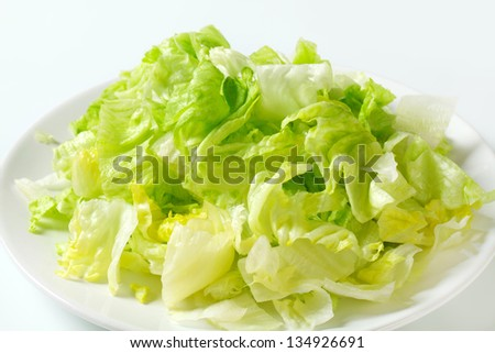 Iceberg lettuce salad on plate - stock photo