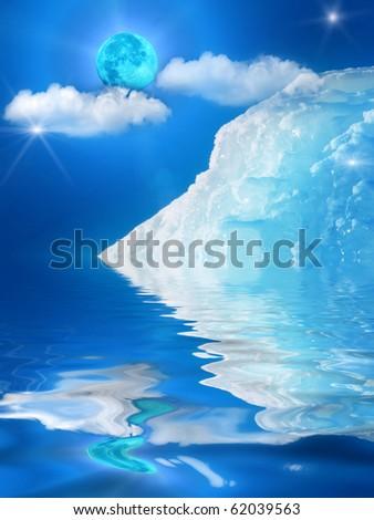 Iceberg  mountain  ice  moon - stock photo