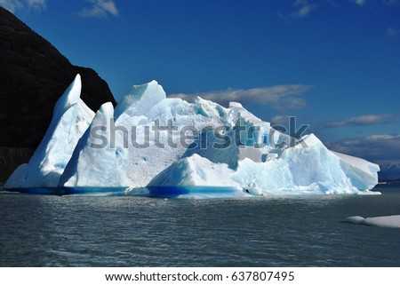 Iceberg on Lake Grey (Grey Glacier) in Torres del Paine National Park, Patagonia