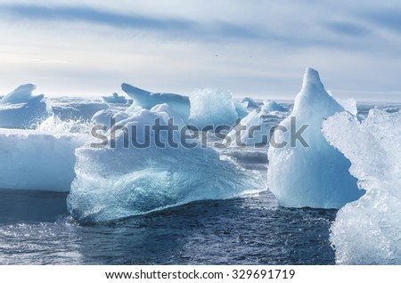 Iceberg pieces at the sea beach - stock photo