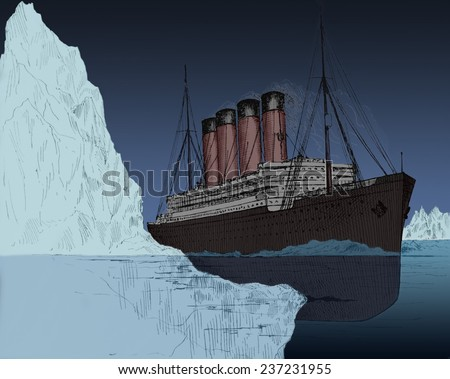 Iceberg tearing a gash in hull of the ocean liner Titanic April 14, 1912, drawing appeared in John Walker's book AN UNSINKABLE TITANIC EVERY SHIP ITS OWN LIFEBOAT published 1912, Modern digital color. - stock photo
