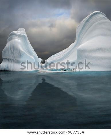 iceberg with penguins looks like swimming pool - stock photo