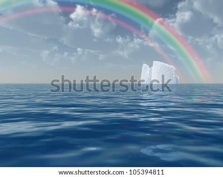 Iceberg with rainbow scene - stock photo
