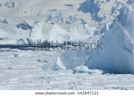icebergs and the ice in the Strait near the west coast of the Antarctic Peninsula