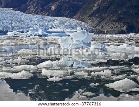Icebergs from the San Rafael Glacier in Patagonia, Chile - stock photo