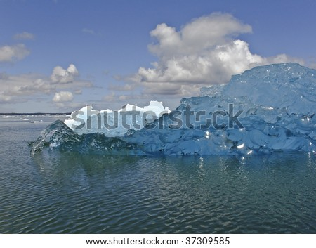 Icebergs from the San Rafael Glacier in Patagonia, Chile (Global warming) - stock photo