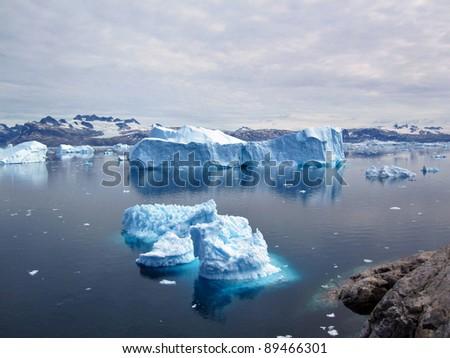 Icebergs, Greenland - stock photo