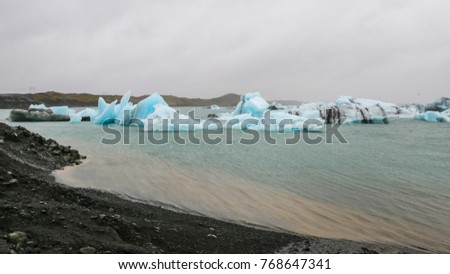 Icebergs in Jokulsarlon Glacial River Lagoon, South of Iceland